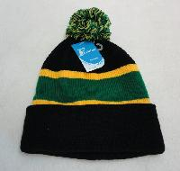 Double-Layer Knitted Hat with PomPom [Black/Green/Gold]